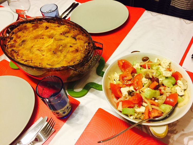 When Greek Cousin Met The African In Belgium Pastitsio Greek #salad #feta #cheese