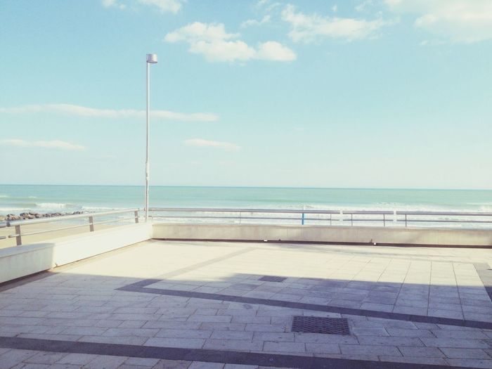Sicily Marina Di Ragusa Promenade Beach Blue Ocean Oceanview Sun Light And Shadow