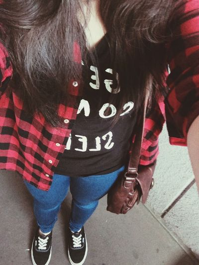 Checkerd kind of day ✌️ Ootd Checkered Black And Red