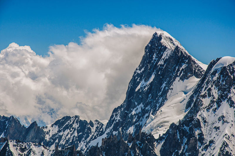 Snowy peaks and mountains, viewed from the aiguille du midi, near chamonix, in the french alps.