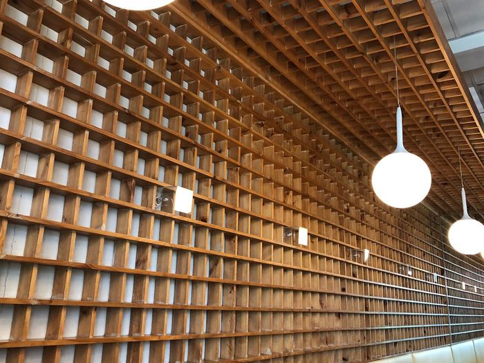 Woods Low Angle View Built Structure No People Pattern Building Pendant Light Hanging Electric Light