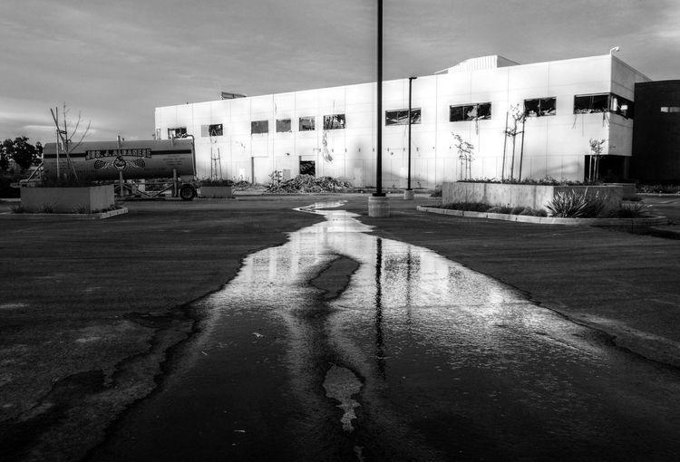 Demolished Demolition Demolition Zone Water Runoff Monochrome Black And White Building Blackandwhite
