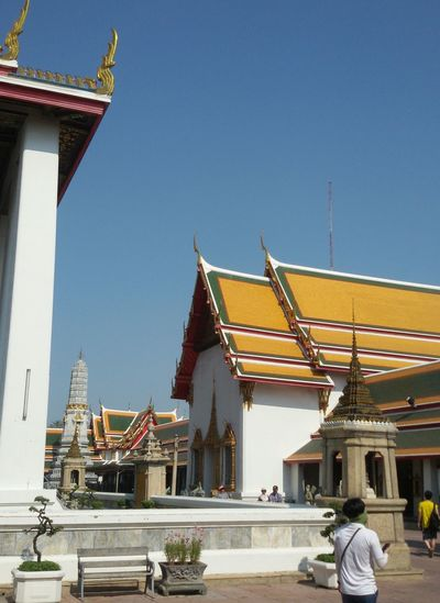 Exterior of wat pho against clear sky in city
