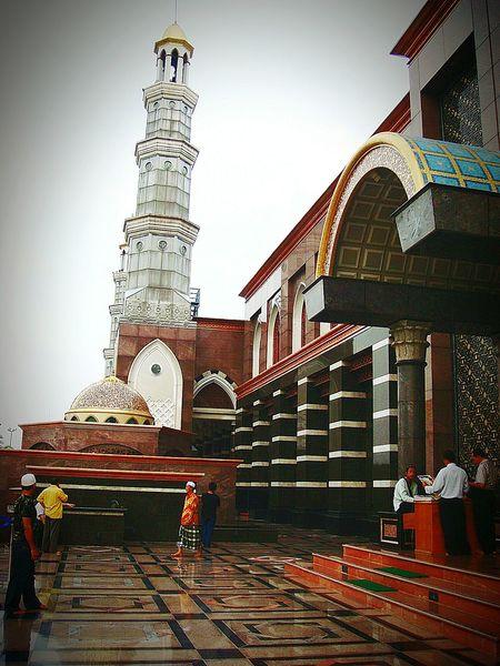 "Masjid Kubah Mas ""Dian Al-Mahri"" (north Entrance Gate) - The mosque of Gold-plated Dome Marble Stone Plaza Minaret Islamic Design Tourist Destination Architecture Cinere Depok INDONESIA"