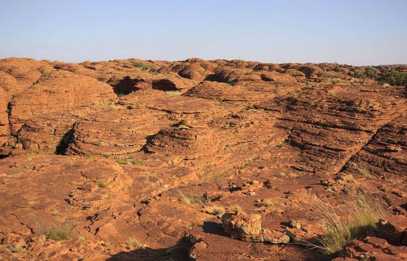 Scenic view of rock formations against clear sky at kings canyon