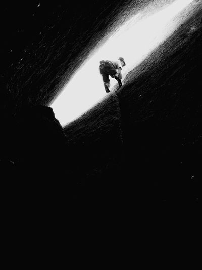 Outdoors One Person Enjoying Life Climbing Crackclimbing Freeclimbing Intothelight Free Blackandwhite Hidden Places Incontrol