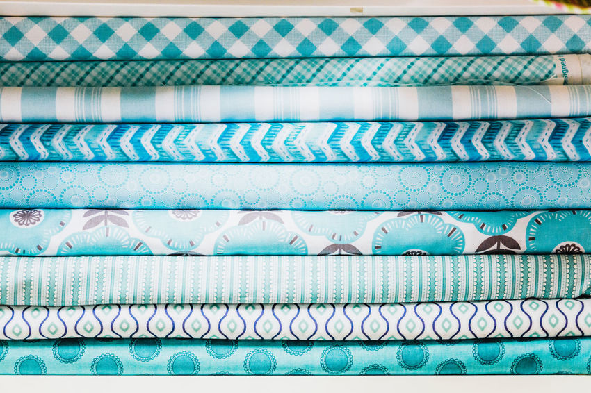 Choice Sewing Abundance Backgrounds Blue Close-up Day Fabric Full Frame Hobby In A Row Multi Colored No People