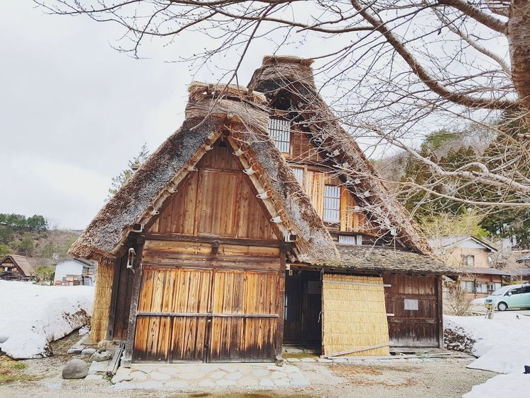 Warmhouse Gifu,Japan Shirakawago Landscape Village Life Snow❄⛄ Gifu Japan Hutandtrees Snow Tree Wood - Material Sky Architecture Building Exterior Built Structure Snow Covered Hut Snowcapped Cottage Village