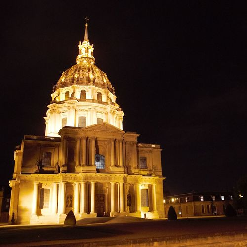 Dome History Hotel Des Invalides Illuminated Napoleon Night Paris Travel Destinations