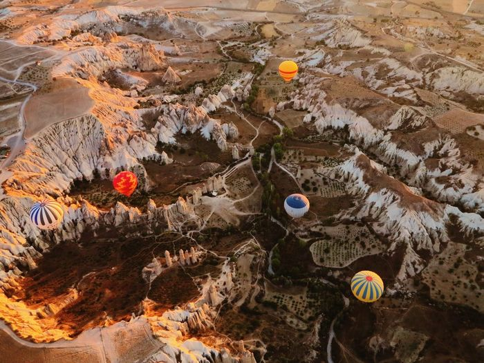 High Angle View Of Hot Air Balloons