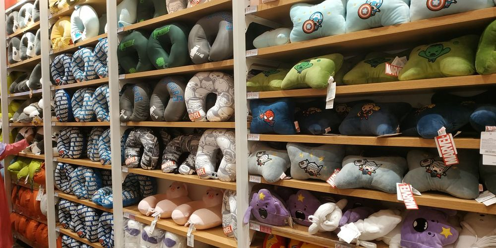 Low angle view of various displayed for sale in store