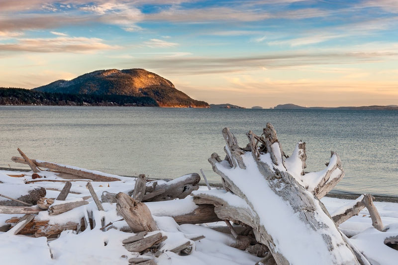 Lummi Island Winter. Snow is rare in the San Juan Islands of the Pacific Northwest but when it happens it can be gorgeous. Beach Beauty In Nature Cloud - Sky Cold Temperature Day Driftwood Lummi Island Mountain Nature No People Outdoors Pacific Northwest  Salish Sea San Juan Islands Sea Sky Snow Sunset Tranquil Scene Tranquility Washington Washington State Water Waterfront Winter