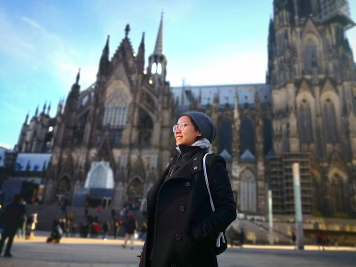Cologne , Köln,  Germany Solemnity Holiness Peace Silence Purity Solitude Alone 2018 Thinking Independence Independenceisalifestyle Wonderful Alone Time Happy :) Happy Happiness Overcoat Winter Coat Cathedral Catholicism Coat Knit Hat Scarf Trench Coat Old Town Town Square
