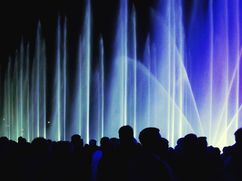 Wassershow @ Autostadt Wolfsburg Silhouette Fountain Water People Light Blue Nightphotography Night Illuminated Arts Culture And Entertainment Blue Wave The Mix Up Overnight Success