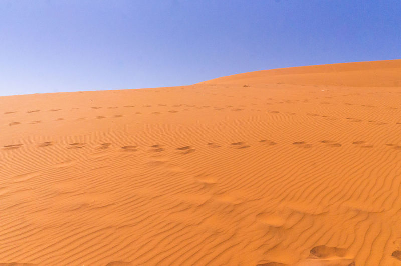 Sand Dune In Desert Against Clear Blue Sky