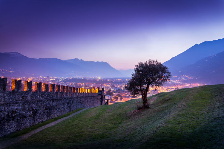Castle Cities At Night City Life City At Night Cityscape Panorama Ruins Tree Beauty In Nature City Lights Colorful Sky Dusk Evening Hill Landscape Lonely Tree No People Outdoors Scenics Spring Sunset Sunset Colors Switzerland Ticino View From Above