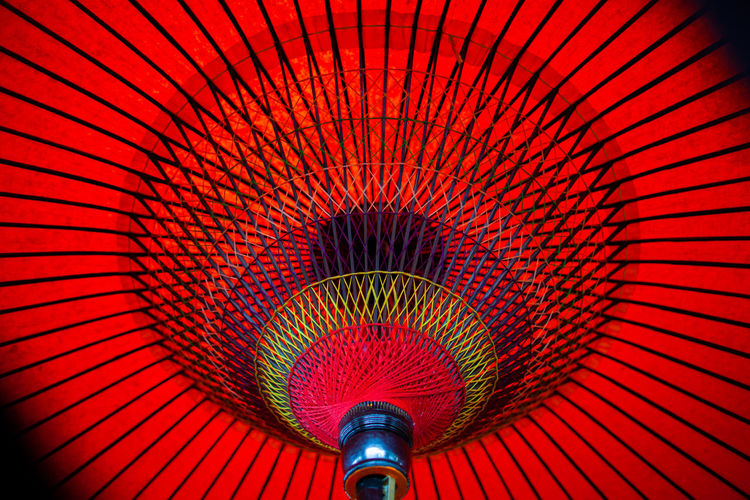 Low angle view of japanese red umbrella