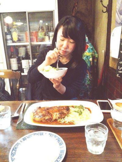 03272016 Lunch Time! おさ 小田急相模原 名店 ハンバーグ 野菜スープ サラダ 洋食 相模大野 野菜を食べるヘルシー龍田