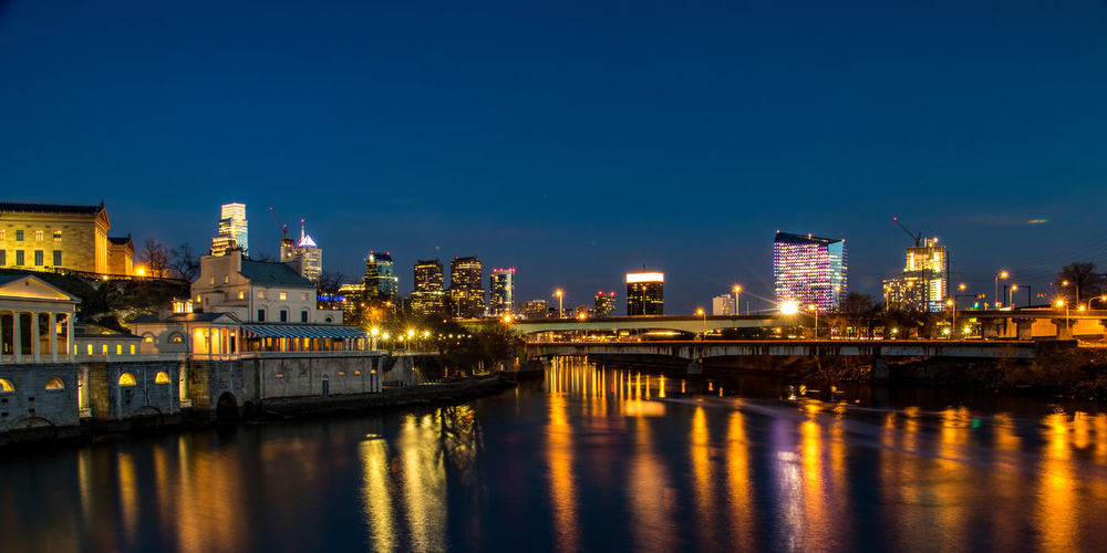philadelphia long exposure sunset and light reflections 215 Philly Architecture Blue Building Building Exterior Built Structure City City Life Cityscape Clear Sky Copy Space Dusk EyeEm Gallery Illuminated Long Exposure Night Outdoors Philadelphia Pennsylvania Reflection River Sky Transportation Water Waterfront