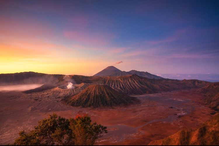 View of mt bromo against sky during sunset