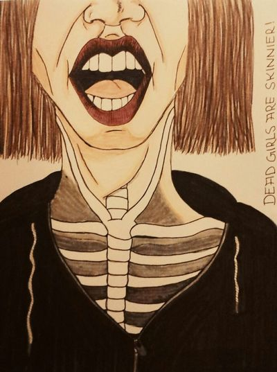 Dead Girls Are Skinnier! Death Dead Girls Girl Are  Skinny Skinnygirls Skinnier You're Beautiful BeliveInYourself Drawing Art Sketchbook Painting Sketch Art Skelett