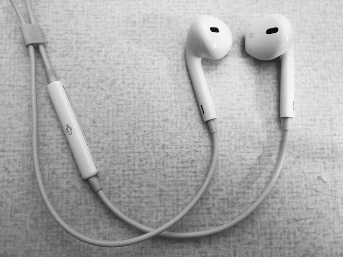 When music is all you've got! Apple Products Black And White Black And White Photogaphy Close-up Day Earphone Empty Foreground Focus Music Music Is Life No People White