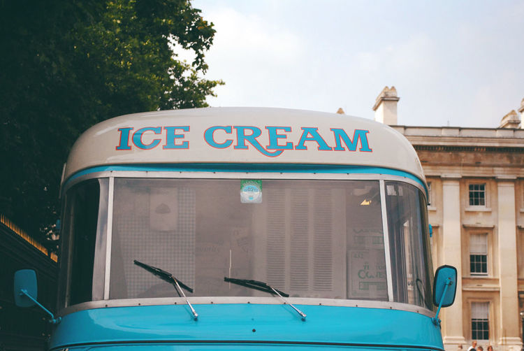 Architecture Close-up Communication Day EyeEm LOST IN London Ice Cream Ice Cream Truck London No People Outdoors Sky Text Transportation Tree Western Script