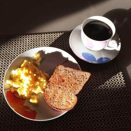 Breakfast Whole Grain Bread Whole Wheat Bread Whole Wheat Whole Grain Eggs Egg Scrumbled Eggs Scrumbled Egg Food And Drink Coffee Cup Coffee - Drink Breakfast Drink Freshness Table Refreshment Cup Food Bread Plate Indoors  High Angle View Ready-to-eat Serving Size Morning No People Healthy Eating Food Stories
