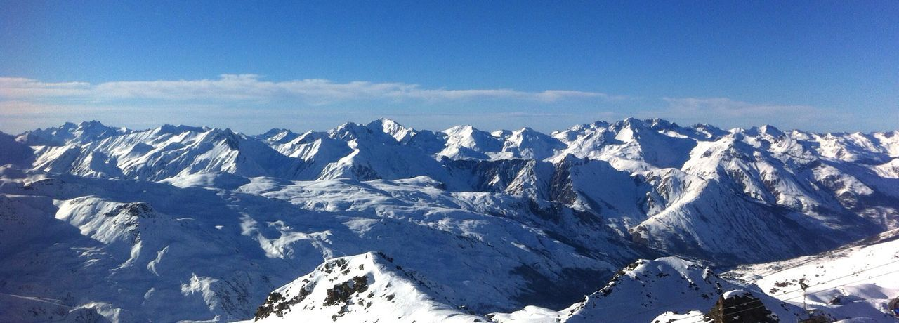 I went skiing last month Alps Snow Panorama Mountains Sky France