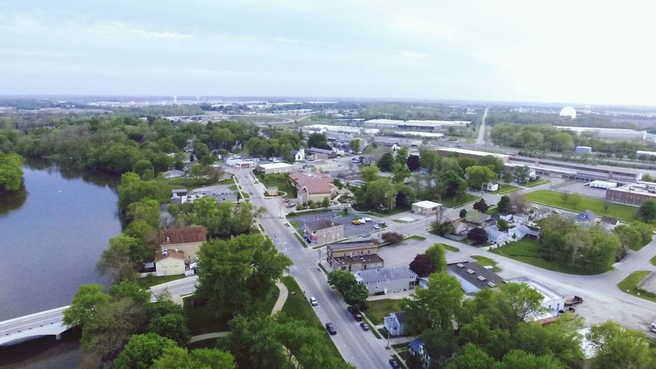 The Great Outdoors - 2016 EyeEm Awards River Collection Aerial View Neighborhood Trees And Sky Bridge - Man Made Structure Street People Driving A Bird's Eye View The Fox River At Montgomery, Illinois Fox River