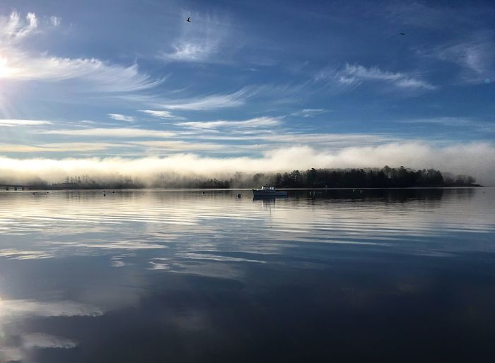 Wiscasset Maine Water Tranquility Sky Beauty In Nature Scenics Waterfront Fog Foggy Morning Beautiful Fiog