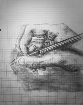 i shouldnt do this in school ✌ Drawing Hand Pencil Black And White