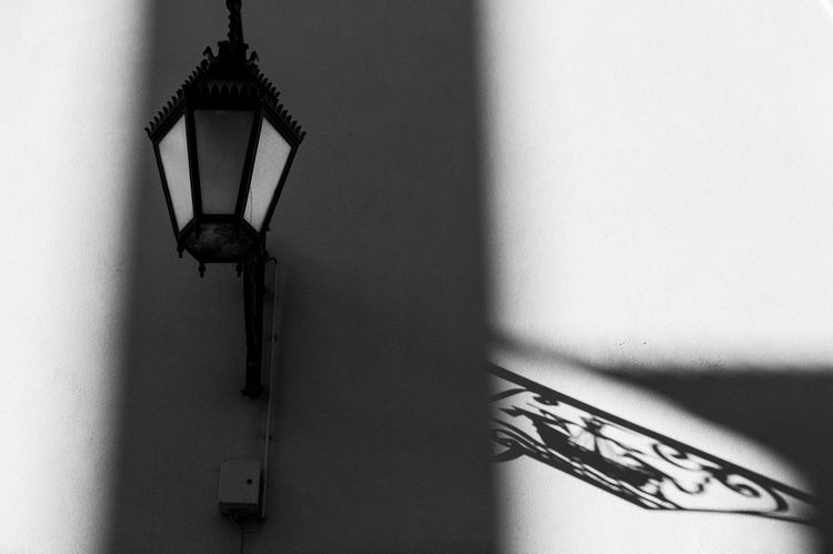 Lisbon street lamp Black And White Blackandwhite Close-up Day Hanging Lamp Lisboa Lisbon Low Angle View No People Shadow Street Wall - Building Feature