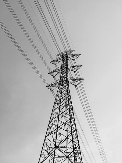 High Volt High Voltage Blackandwhite Transmission Line Tower Low Angle View Sky No People Nature Clear Sky Tall - High Day Electricity Pylon Technology Cable Connection Power Supply Fuel And Power Generation Power Line  Electricity  Nature Tower Metal Silhouette Outdoors Communication Architecture Low Angle View Built Structure