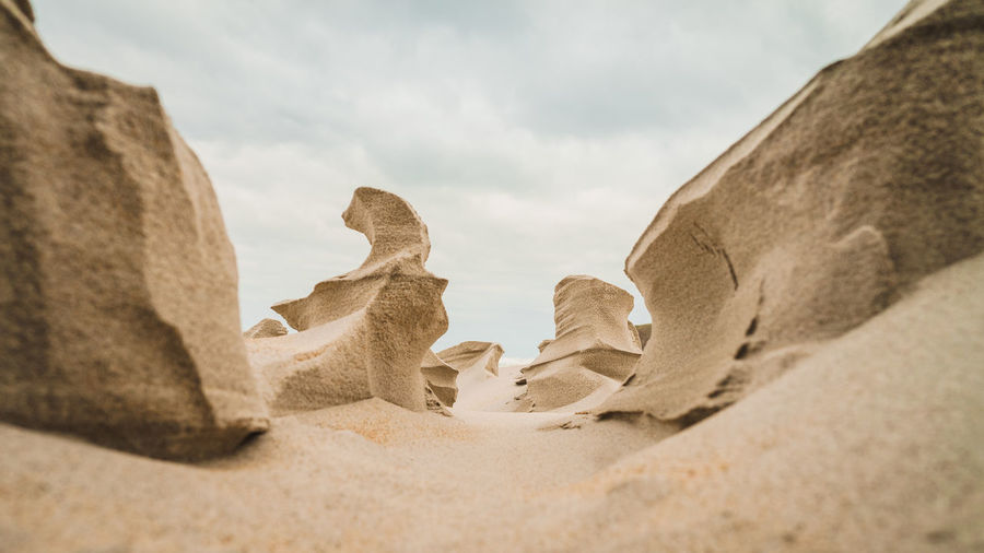 Low angle view of sand dune on beach