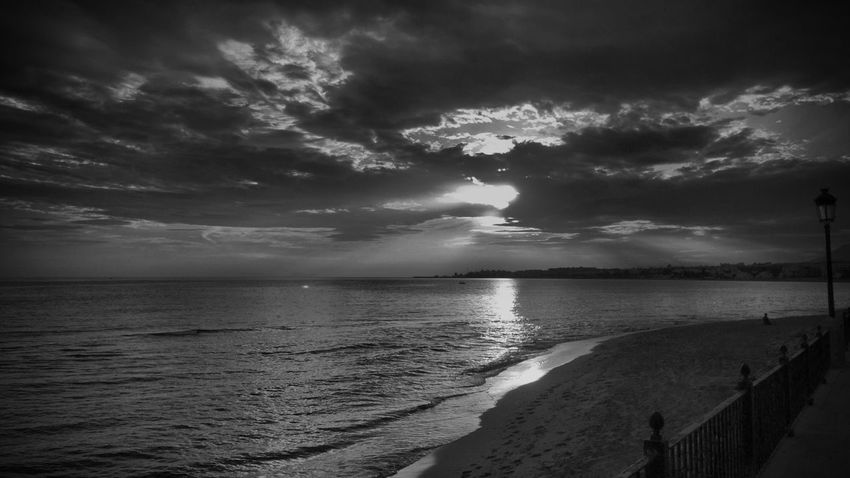 Marbella Sea Water Horizon Over Water Sky Cloud - Sky Scenics Nature Beauty In Nature Tranquil Scene Beach Tranquility Outdoors No People Sunset Storm Cloud Travel Destinations Day first eyeem photo