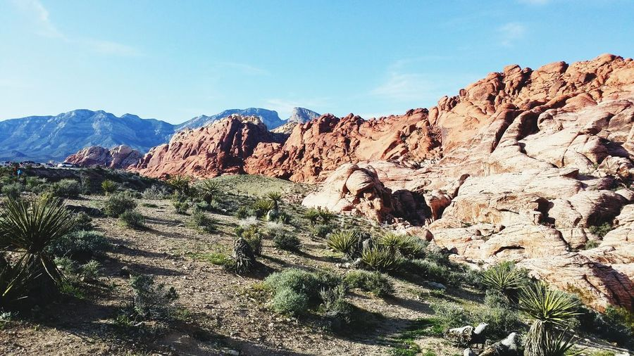 Idyllic shot of red rock canyon national conservation area against sky