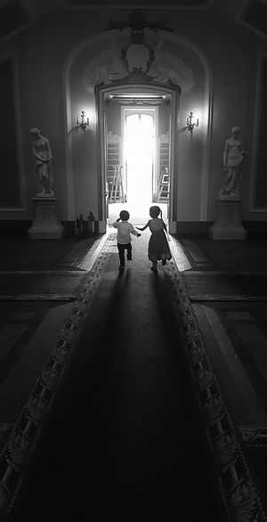 Not everything is black and white. Somewhere seemingly ordinary and boring to an individual, can thorough a child's eyes turn into a landscape of imagination....not everything is black and white' Adventure Childhood Kids Monochrome Photography Monochrome, Running Shadows & Lights Wrest Park