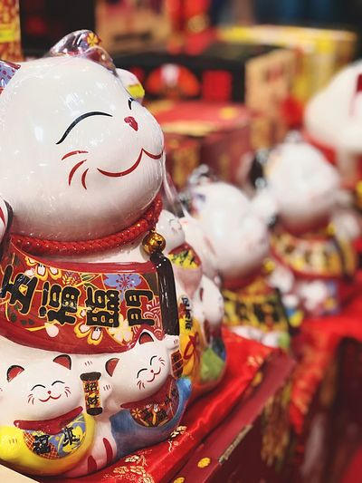Fortune cat Cat Fortune Cat Chinese New Year Human Representation Art And Craft Representation Focus On Foreground No People Male Likeness Holiday