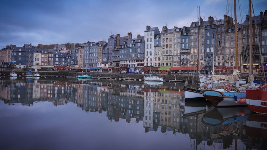 Architecture Building Exterior Reflection Built Structure Sky Water Residential Building Waterfront House Outdoors Cloud - Sky Nautical Vessel Day No People City Sailboat Cityscape Be. Ready. Honfleur Honfleur, France France