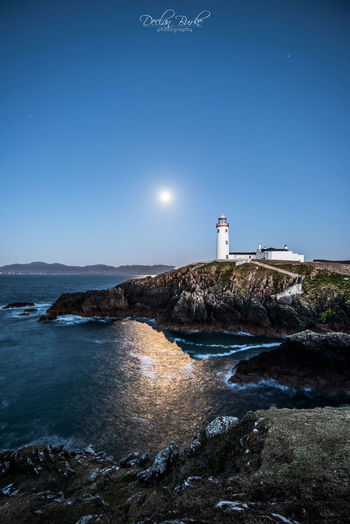 Fanad Lighthouse by moonlight in Donegal in Ireland