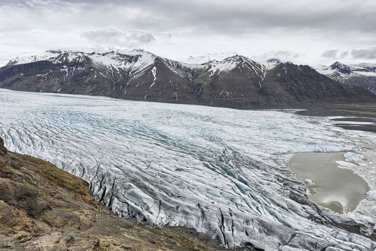 Scenic view of mountains and glacier against sky