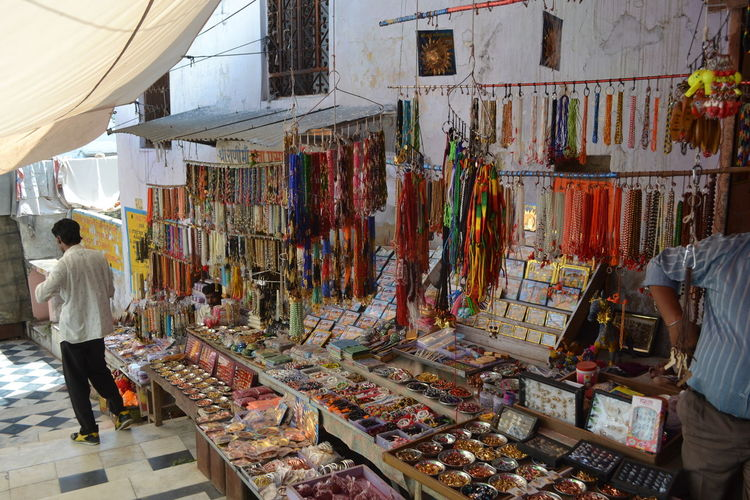 High angle view of market stall