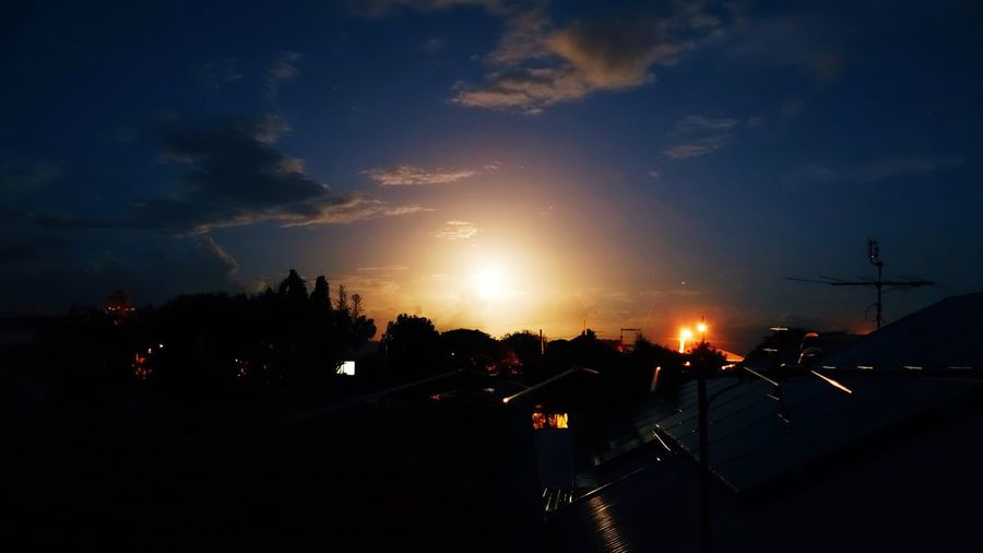 Moon Rooftop Sky Silhouette Illuminated Sunset Architecture Nature Cloud - Sky Built Structure Building Exterior Building No People Outdoors Night City Tree Scenics - Nature Dusk Beauty In Nature