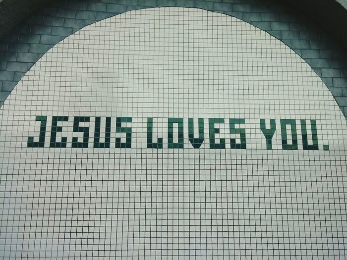 Jesus or Jesús? Love Jesus Mural San Francisco Mission District Words Religious  Green And White Signs Street Urban Art