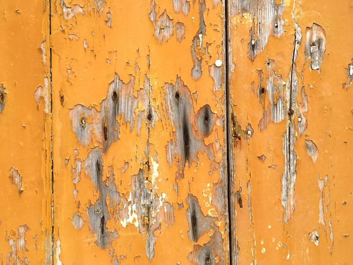 Full frame shot of old yellow wooden wall