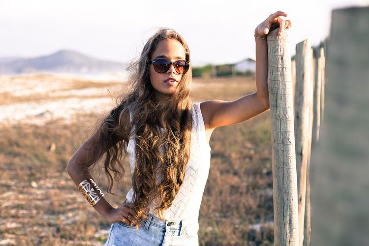 Juliana Young Women Portrait Youth Culture Standing Summer Fashion Females Long Hair Sunglasses Waist Up Natural Beauty Fashion Model