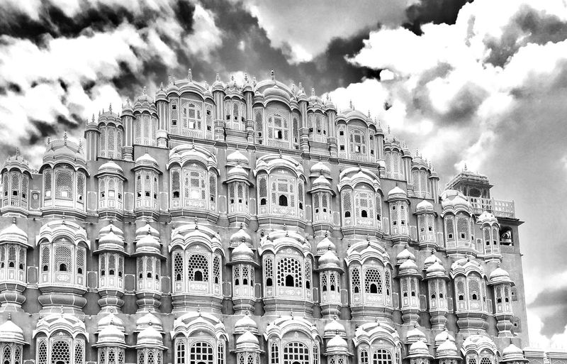 Grandeur Hawa mahal -jaipur Jaipur Rajasthan India Indian Architecture Blackandwhite Photography Clouds And Sky Structures & Lines Jaipurdiaries Travel Destinations Beauty Is Everywhere  Beauty In Ordinary Things