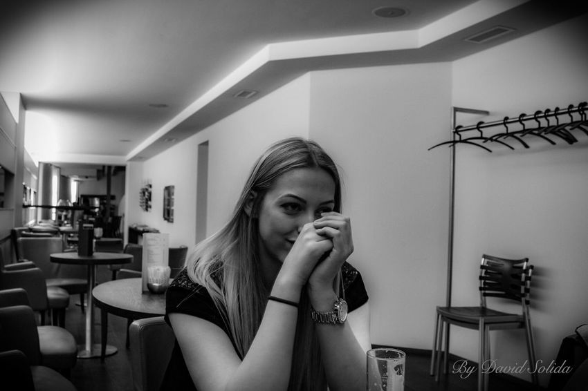 In love with this beautiful girl❤️❤️ Girlfriend One Person Lifestyles Indoors  Young Women Sitting Architecture Black And White Canonphotography Basel, Switzerland Photography