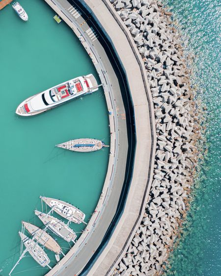 High angle view of boat in river